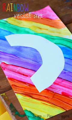 Easy method to make rainbow resist art with kids