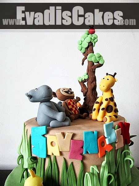 Closer view of all animals on cake