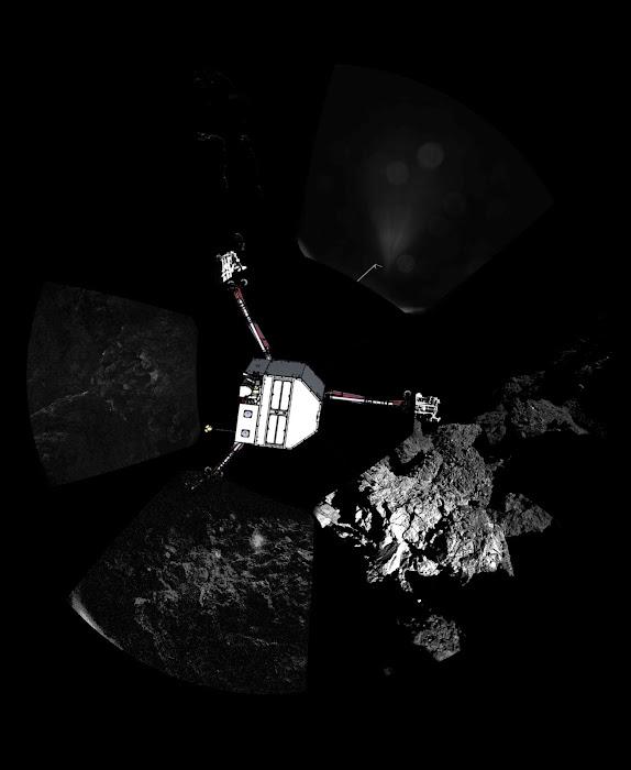 Tàu thăm dò Philae của Cơ quan Hàng không Vũ trụ Âu châu đã hạ cánh xuống bề mặt sao chổi 67P/Churyumov–Gerasimenko vào tối 12 tháng 11 vừa qua. Trong hình là tàu Philae và xung quanh đó là bề mặt của sao chổi. Credit : ESA/Rosetta/Philae/CIVA.