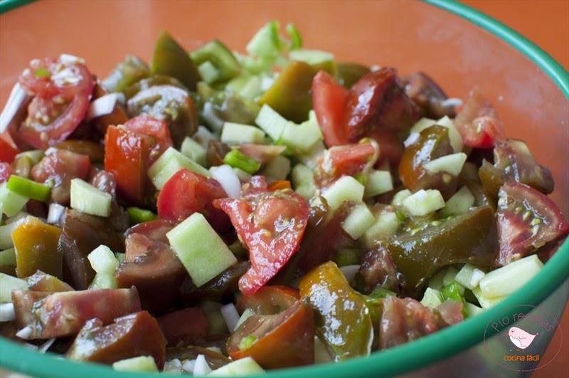 verduras troceadas para gazpacho