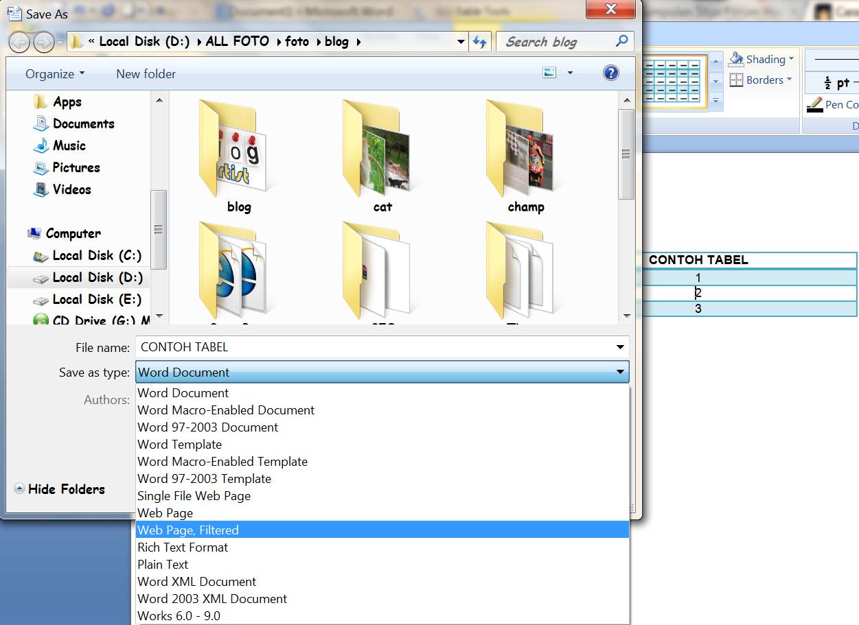 Tutorial Membuat Tabel untuk Postingan Blog dengan Microsoft Word