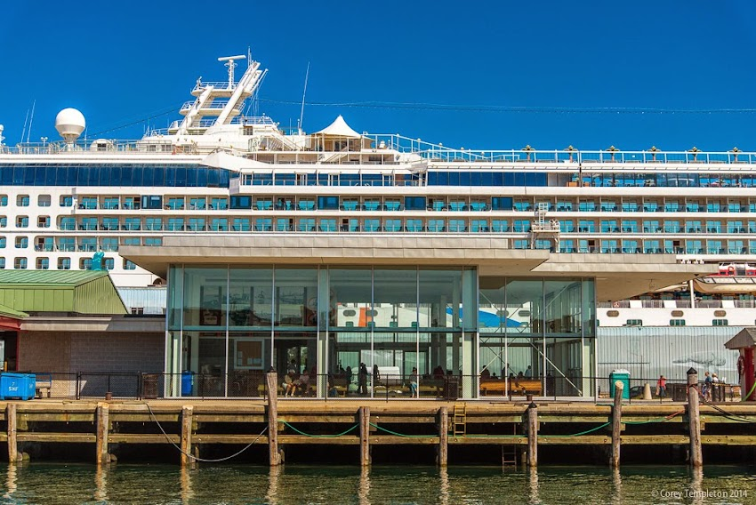 Portland, Maine Casco Bay Lines terminal on the Maine State Pier with cruise ship in background September 2014 photo by Corey Templeton