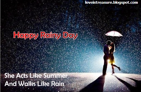 Delightful Couple In Love In Rain With Quotes