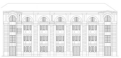Line drawing of 3, 5 & 7 Tanner St, London SE1 showing the street elevation as it would have been prior to 1960