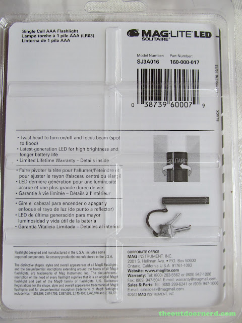 Maglite Solitaire LED: In Package,Back