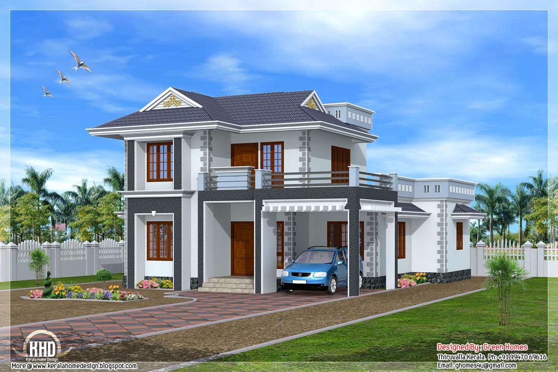 Beautiful 3 bedroom kerala home design kerala home for 3 bedroom house in kerala