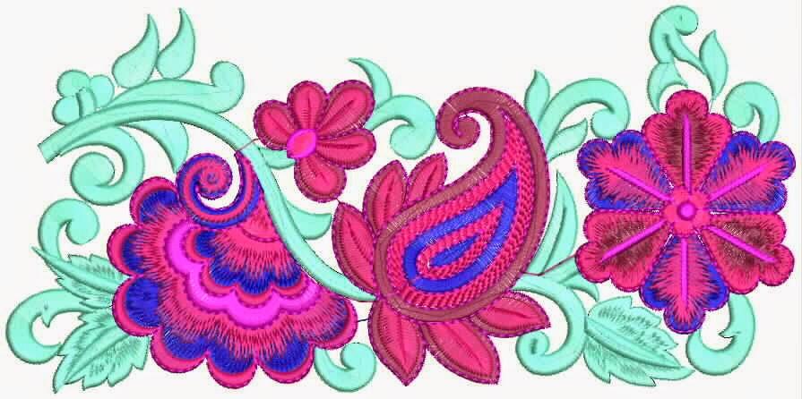 blomme borduurwerk kant grens