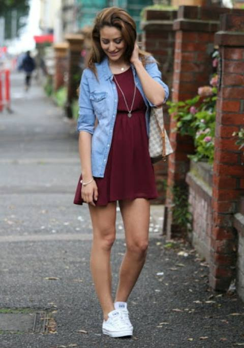Elegant Red Dress, Sneakers, Shirt, Necklace | Women Fashion