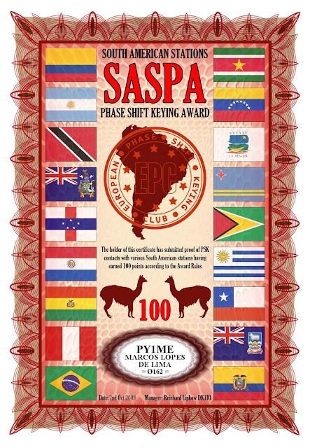 Foto do diploma SASPA 100 oferecido pelo EPC