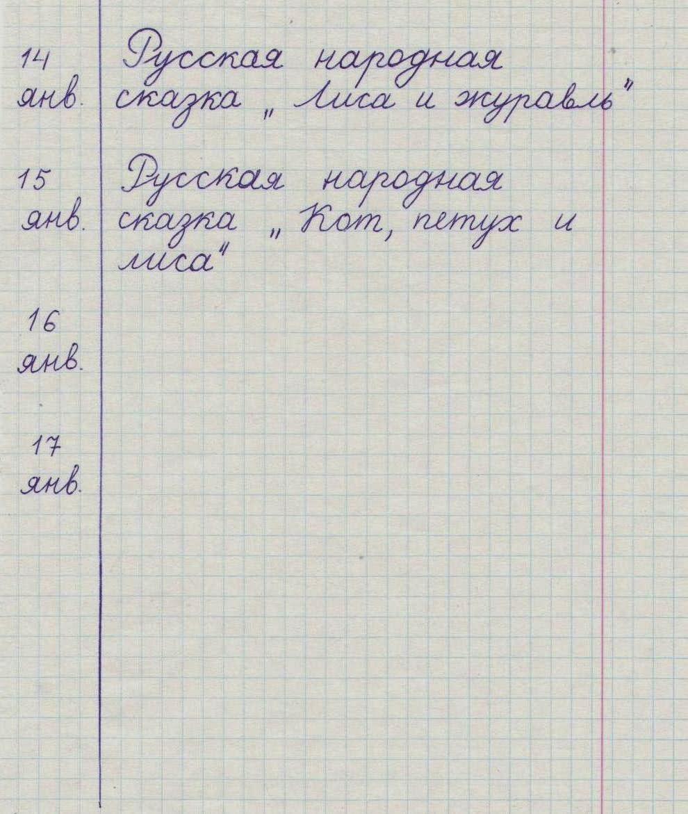 Класс 4 читательский дневник образец
