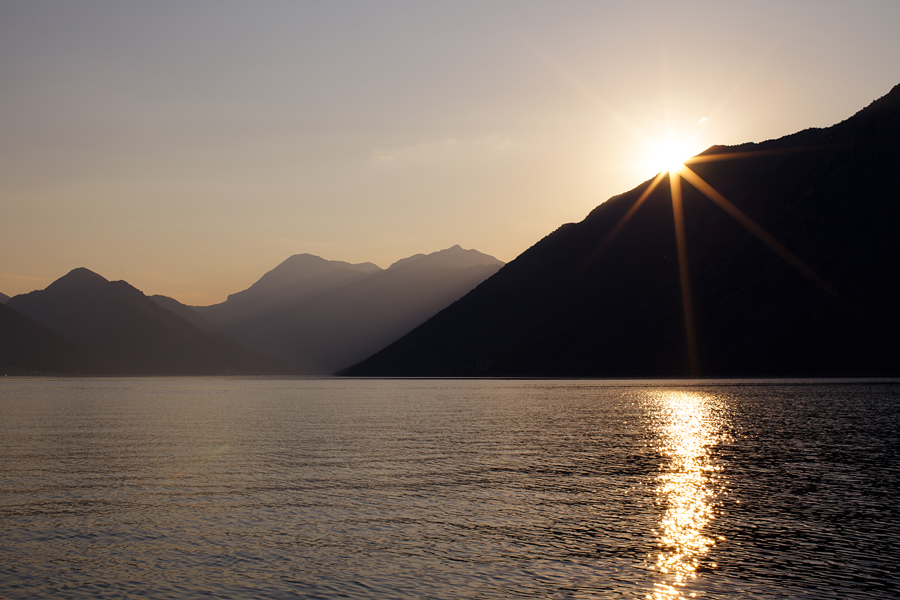 Kotor, Kotor bay, sunset, Montenegro