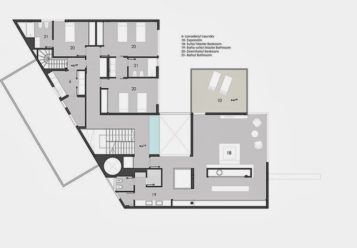 Floor plan of Minimalist Casa Carrara by Andres Remy Architects