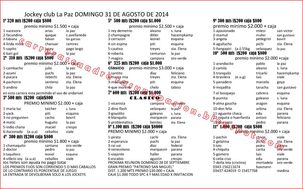 LA PAZ - PROGRAMA - 31.08.2014