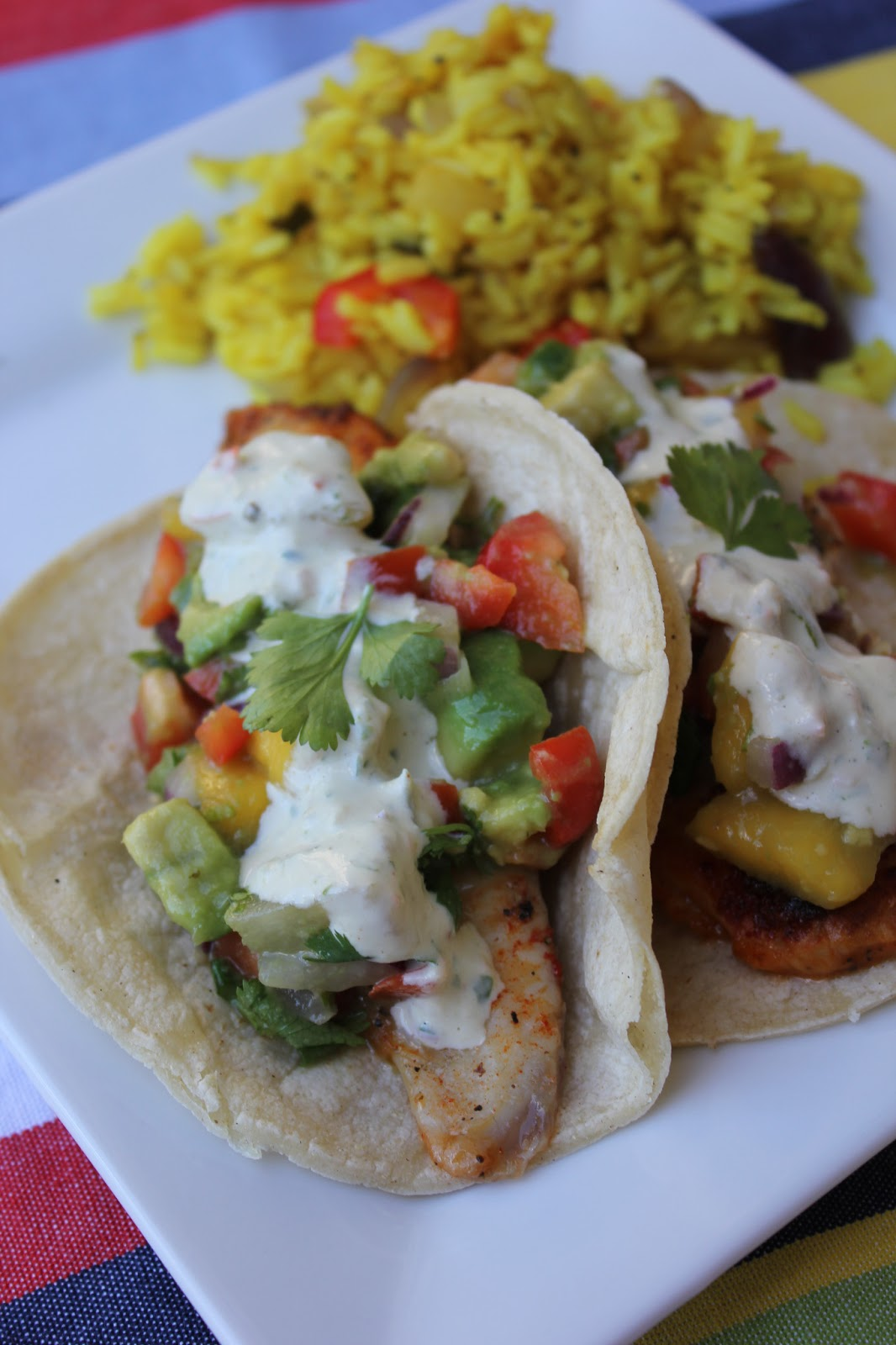Deals to meals carribean fish tacos with mango salsa for Salsa for fish tacos
