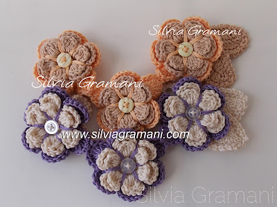 colar, crochet, colar florido, lilás, laranja, flores de croche