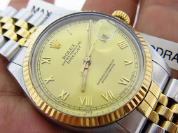ROLEX OYSTER PERPETUAL DATEJUST GOLD ROMAN DIAL TWO TONE 18k - ROLEX 16013 GOLD ROMAN DIAL