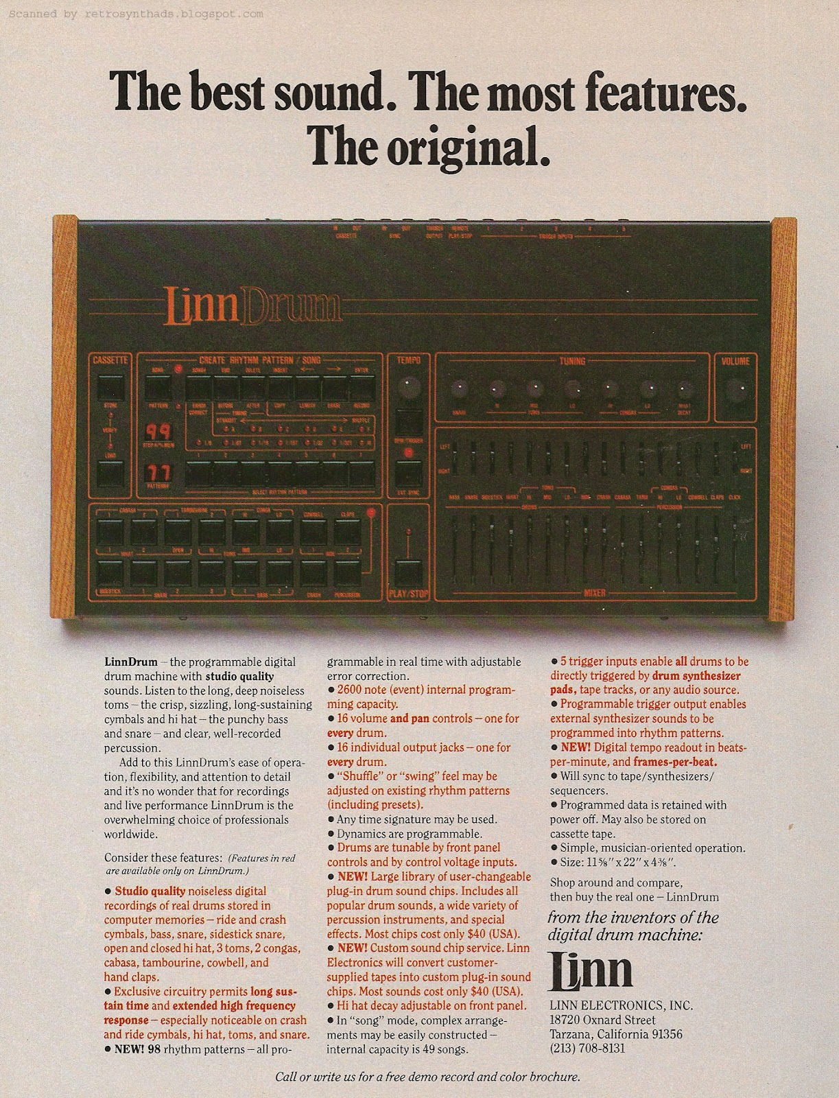 Retro Synth Ads Linn Electronics Inc The Best Sound Most Circuit Board Dream Maker Rs101 Features Original Ad 1983
