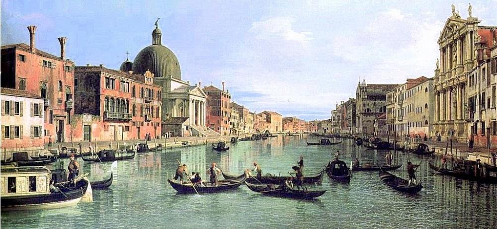 Veduta del Canal Grande con la Chiesa di S. Simeon Piccolo sulla sinistra