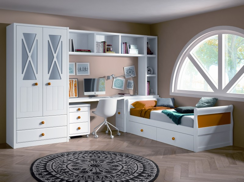 Habitaciones juveniles - Camas blancas juveniles ...