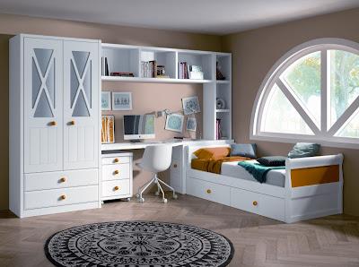 Habitacion juvenil para 2 compuesta por 2 camas con - Habitaciones infantiles blancas ...