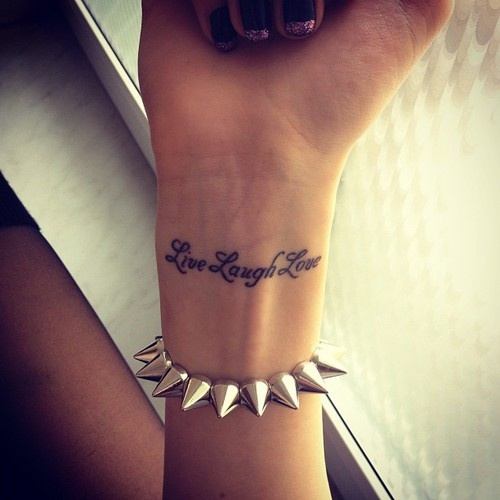 Live laugh love arm female tattoofemale tattoos gallery for Live love laugh tattoo