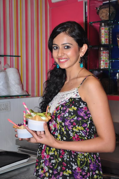 rakul preet singh new @ cream stone ice cream shop latest photos