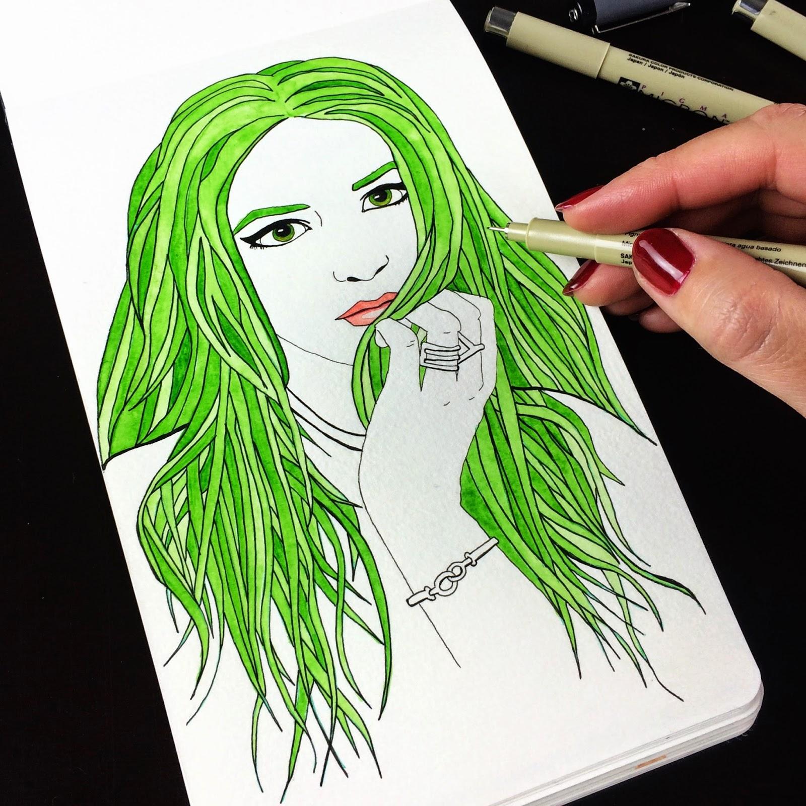 Inktober fashion illustration of Kristina Bazan by Jessica Mack aka BrownPaperBunny