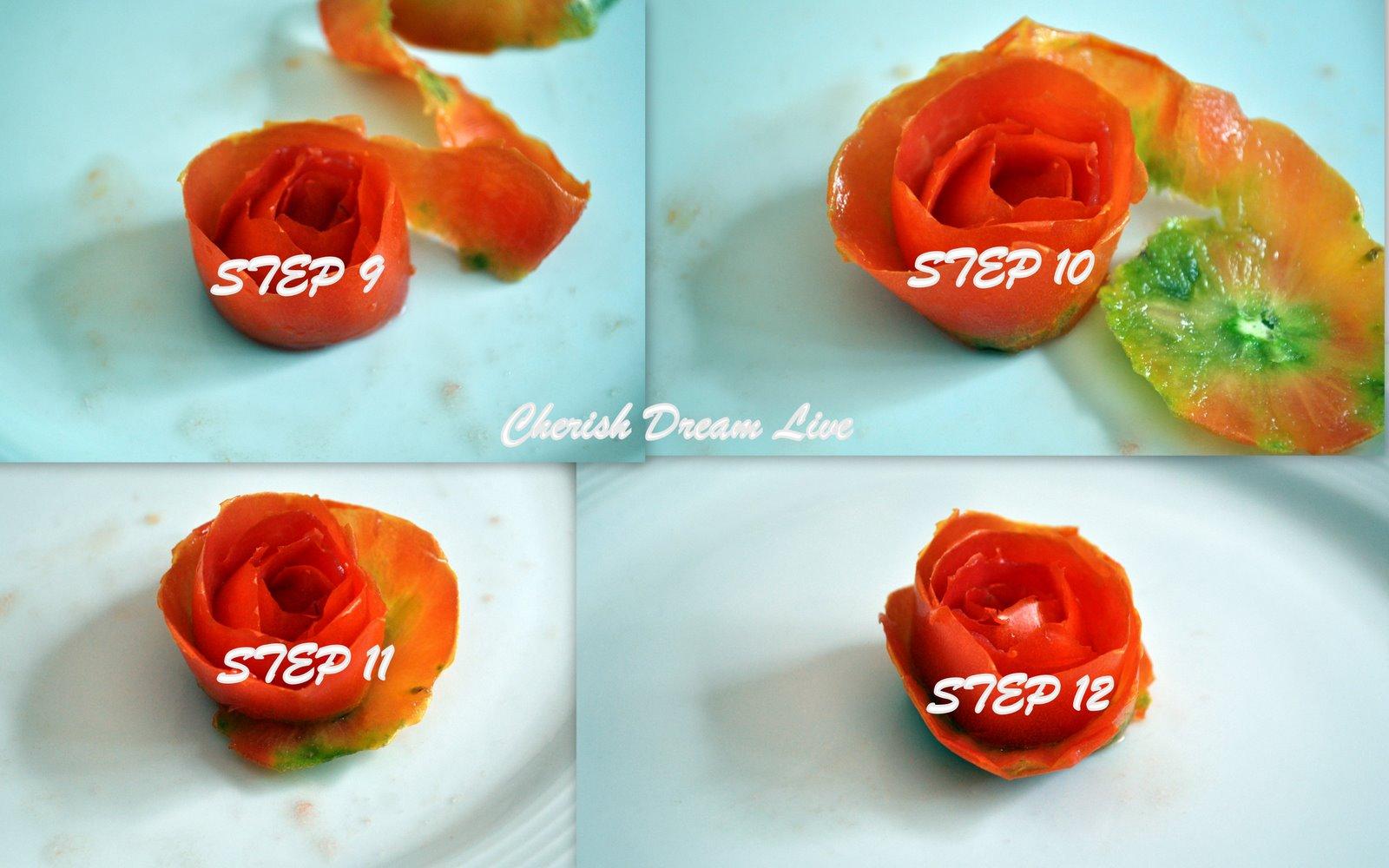 Пошаговое фото роза из помидора