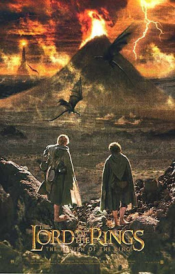 lord of the rings, return of the king, looking at volcano, mordor, frodo