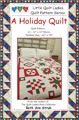 A HOLIDAY Quilt Pattern digital download in red and green fabric by The Quilt Ladies Quilt Pattern Store