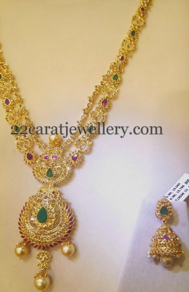 Uncut Diamond Necklace Jhumka 60gms