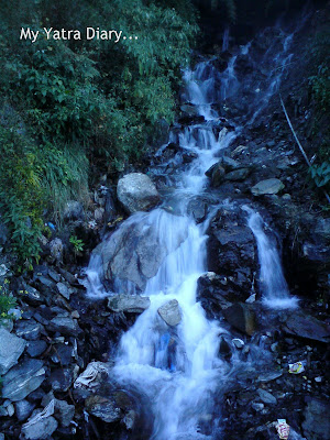 Waterfall in the Garhwal Himalayas in Uttarakhand during the Char Dham Yatra