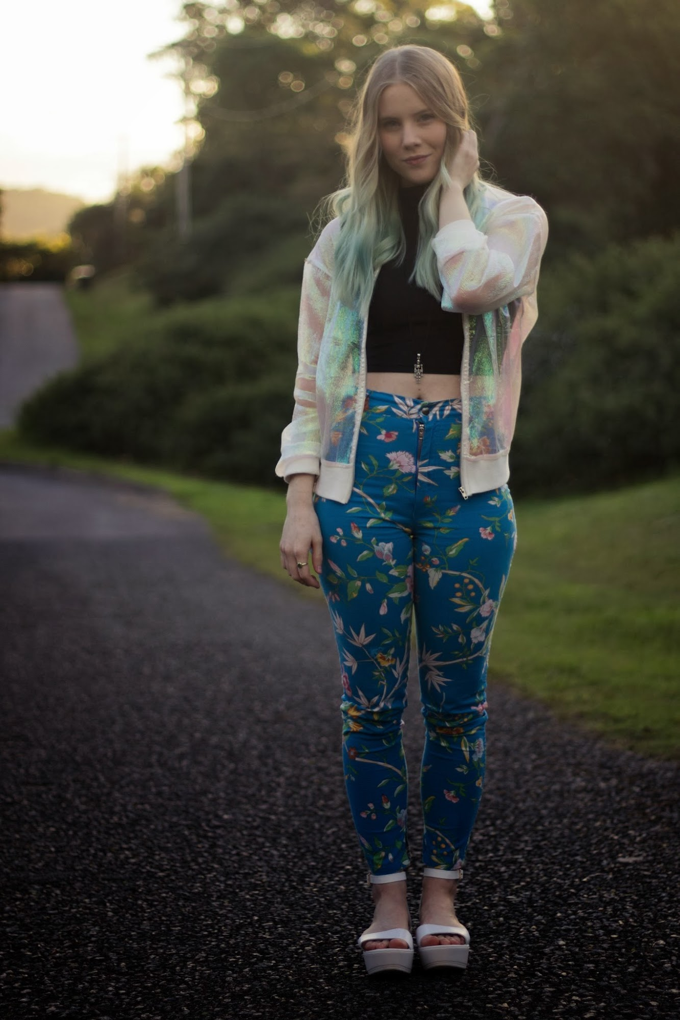 fashion blogger, ootd, iridescent bomber jacket, shimmery jacket, sheer, white bomber, front row shop coloured yarn jacket, vintage floral pants, topshop white flatform sandals, blue ombre hair, pastel dip dye,