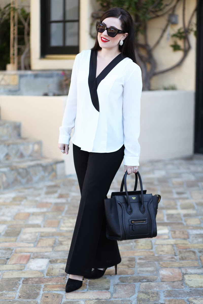 celine-tote-dorsay-pumps-fashion-blogger-san-diego-king-and-kind-best-red-lipstick-tuxedo-style-blouse
