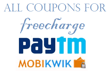 Working recharge offers from Paytm, Mobikwik, Freecharge, rechargeadda and others