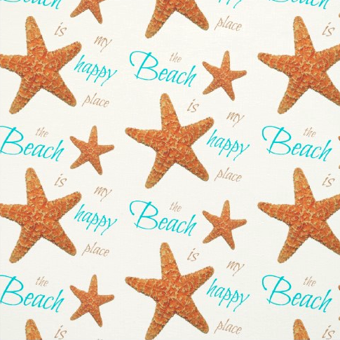 Beach Happy Starfish Typography Fabric