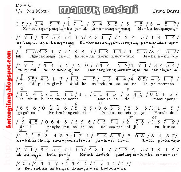 Not Angka Lagu Daerah Manuk Dadali (Jawa Barat)