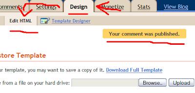 Pesan komentar di tempat Edit HTML