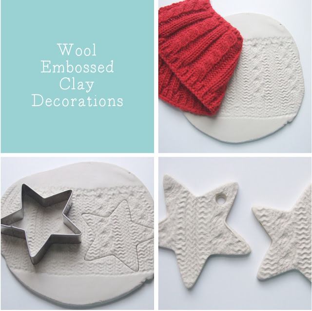 wool embossed clay stars made from air drying clay