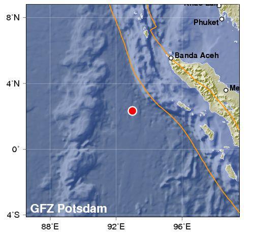 Peta Lokasi Gempa Aceh 8.9 SR 11 April 2012