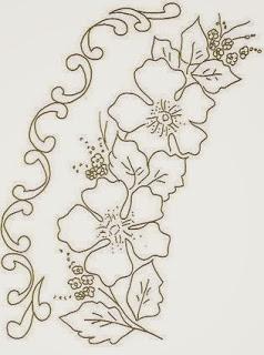 risco de flores com arabescos laterais