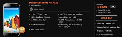 Micromax Canvas HD A116 Sold Out