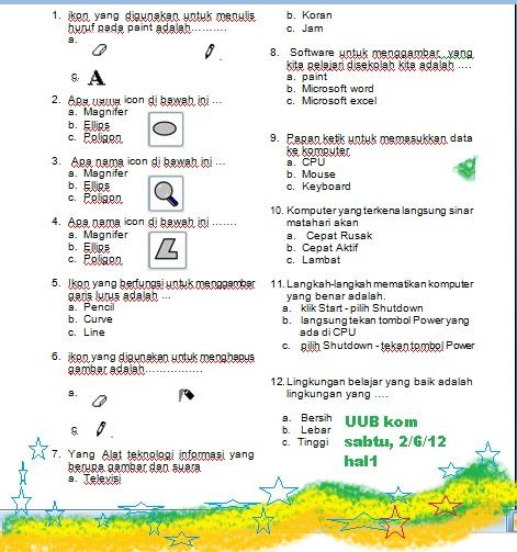ULANGAN UMUM BERSAMA KOMPUTER KELAS 1 (2/6/12 )
