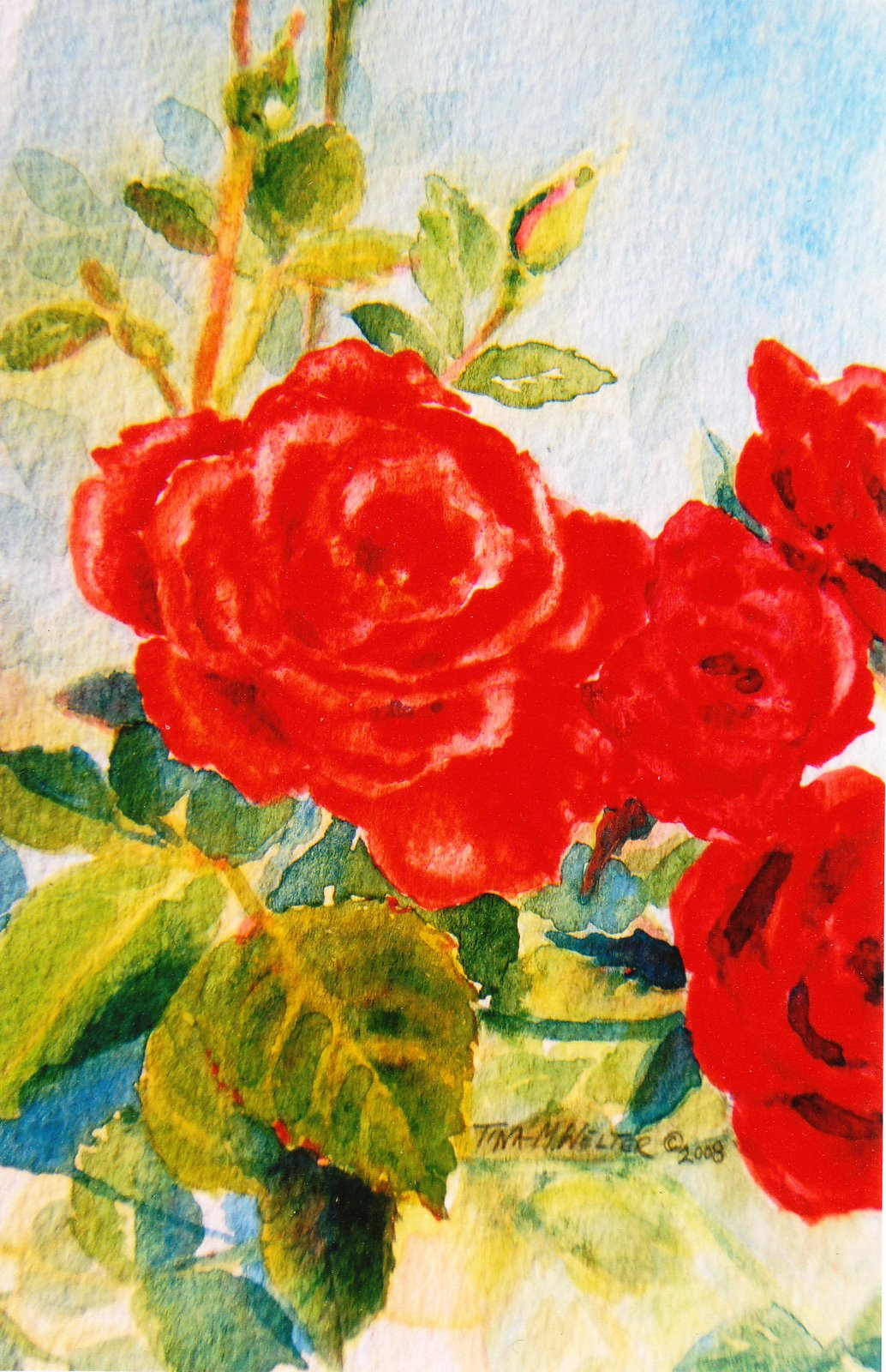 "7"" x 5"" watercolor on paper, copyright Tina M. Welter 2008  Red roses watercolor painting"