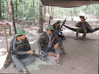 Viet Cong soldiers in tunnels of Cu Chi (Vietnam)