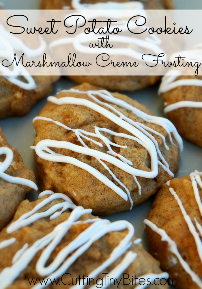 Sweet Potato Cookies with Marshmallow Creme Frosting