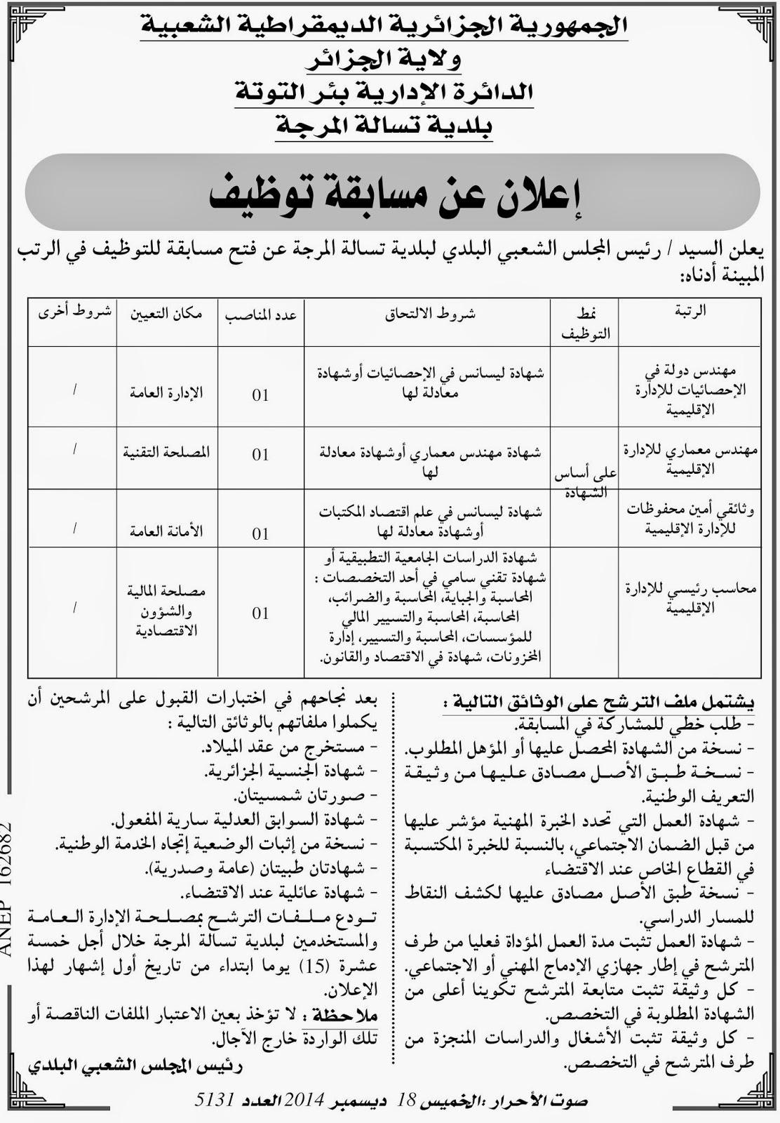 اعلان توظيف و عمل بلدية تسالة المرجة ولاية الجزائر ديسمبر 2014