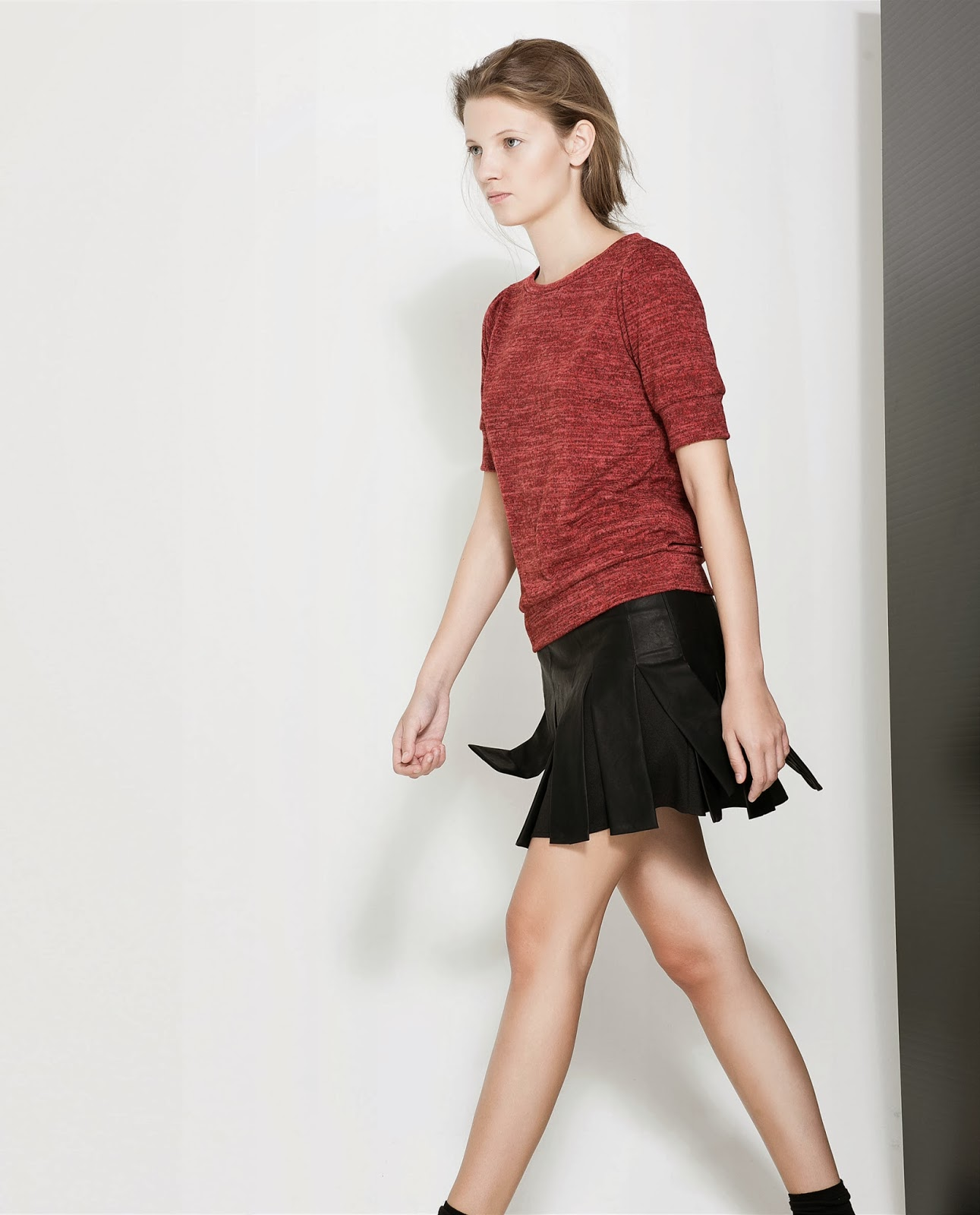 zara new collection 2013 faux leather pleated skirt