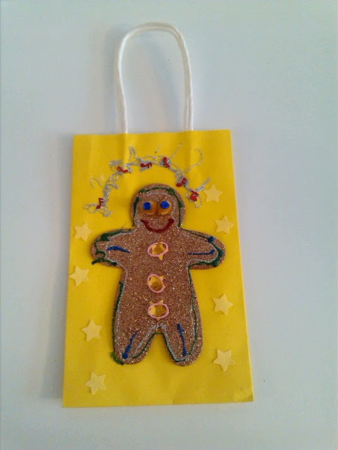 Gingerbread Man Craft Decoration for a DIY Gift Bag