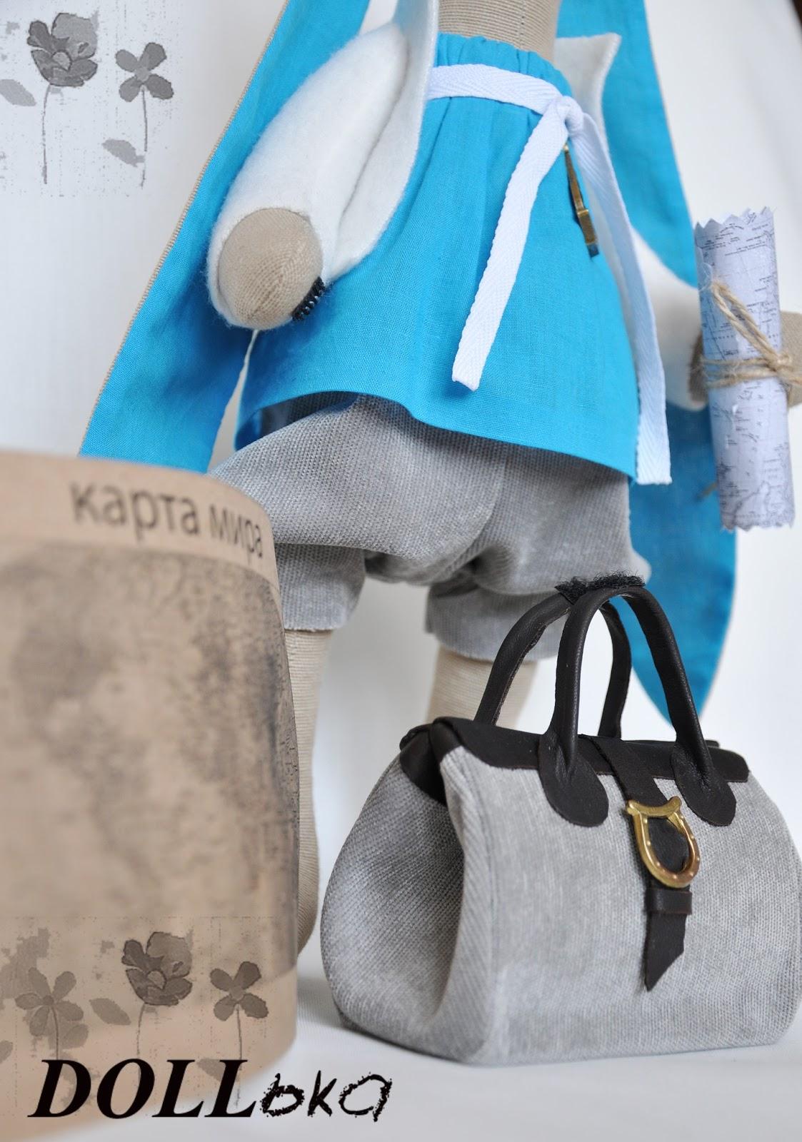 Зайка путешественница текстильная игрушка ручной работы